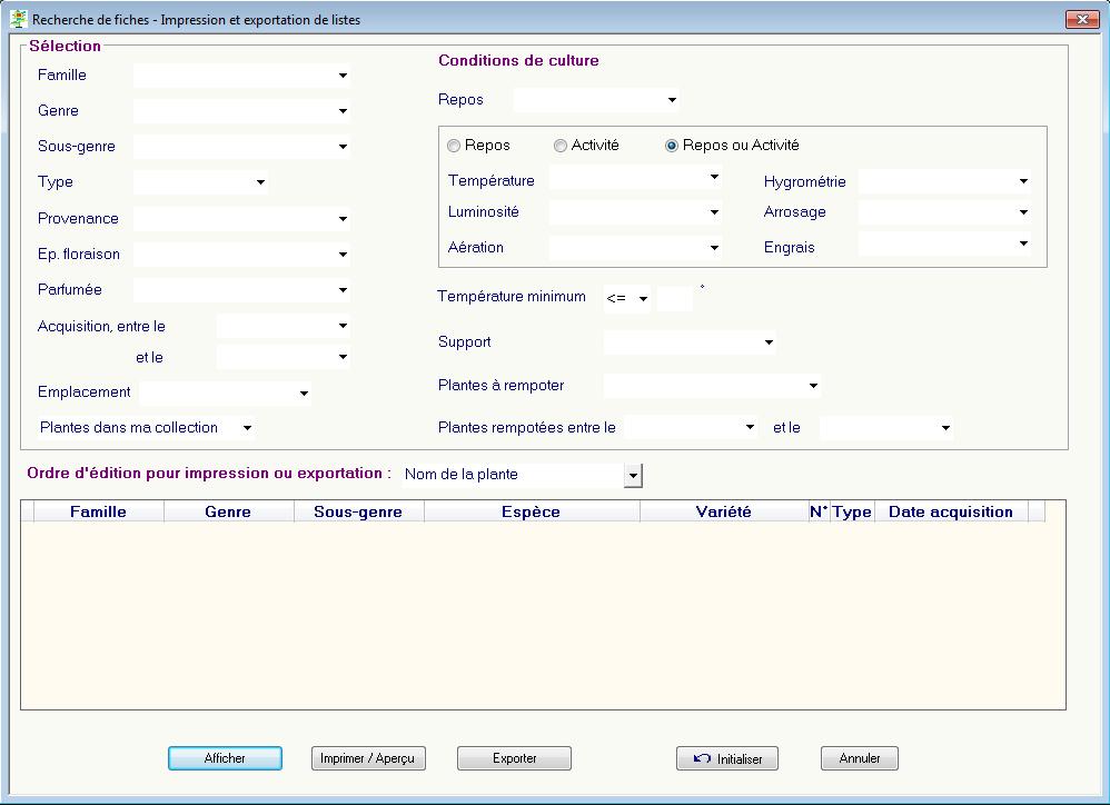 Recherche dans votre base de données et exportation de listes